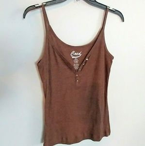 Coed Tops - 🌻Flirty Brown Tank with Bling🌻